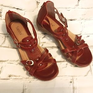 SANITA RED LEATHER STRAPPY SANDALS SIZE 37